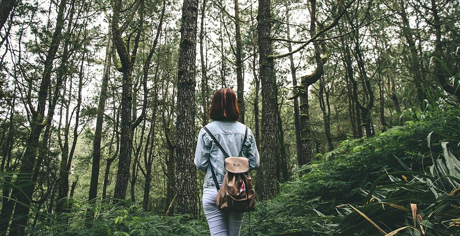 photo of young girl hiking in forest